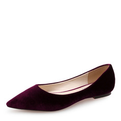 Women's Suede Flat Heel Flats Closed Toe shoes (086173045)