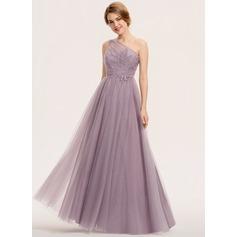 A-Line One-Shoulder Floor-Length Tulle Lace Evening Dress With Ruffle