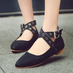 Women's Leatherette Flat Heel Flats Closed Toe Mary Jane With Buckle shoes