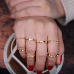 Chic Alloy Ladies' Fashion Rings (Set of 7)