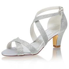 Women's Sparkling Glitter Stiletto Heel Peep Toe Pumps With Sparkling Glitter