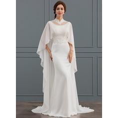 Trumpet/Sjöjungfru hög Hals Court släp Töjbar Crepe Bröllopsklänning med Beading Paljetter