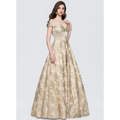 Ball-Gown Off-the-Shoulder Floor-Length Lace Prom Dresses (018146352)