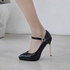 Kvinner Patentert Lær Stiletto Hæl Pumps Platform أحذية