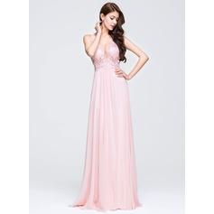 Vestidos princesa/ Formato A Decote V Sweep/Brush trem Tecido de seda Vestido de baile com Apliques de Renda lantejoulas
