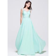 Vestidos princesa/ Formato A Decote V Longos De chiffon Vestido de baile com Bordado Apliques de Renda Lantejoulas