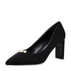 De mujer Ante Tacón ancho Salón Cerrados con Perlas de imitación zapatos