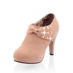 Suede Cone Heel Enkel Laarzen met Strass schoenen