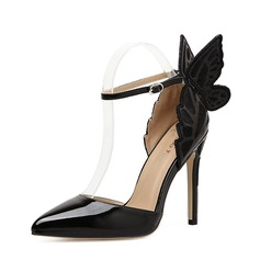 Women's Leatherette Stiletto Heel Pumps Closed Toe With Bowknot shoes (085150593)