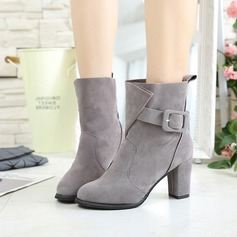 Women's Suede Chunky Heel Pumps Boots Mid-Calf Boots With Buckle shoes