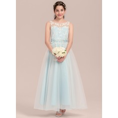 A-Line Scoop Neck Ankle-Length Organza Junior Bridesmaid Dress With Beading