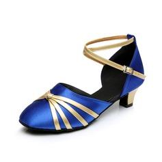 Mulheres Cetim Saltos Sandálias Salão de Baile com Correia de Calcanhar Sapatos de dança