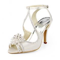 Frauen Satin Stöckel Absatz Sandalen mit Nachahmungen von Perlen (047020190)