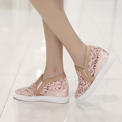 Women's Lace Wedge Heel Wedges With Stitching Lace shoes (116138273)