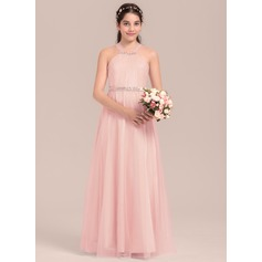 A-Line/Princess Square Neckline Floor-Length Tulle Junior Bridesmaid Dress With Ruffle Beading (009130650)