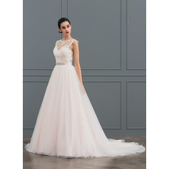 Ball-Gown Scoop Neck Court Train Tulle Lace Wedding Dress With Beading (002127255)
