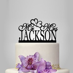 Personalizado Coração Acrílico Decorações de bolos