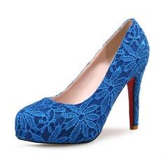 Femmes Dentelle Talon stiletto Escarpins Plateforme Bout fermé avec Couture dentelle chaussures