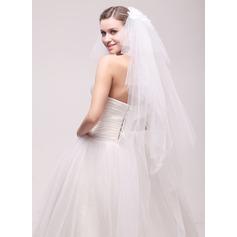 6 couches Bord de coupe Voiles de mariée valse avec Motif appliqué