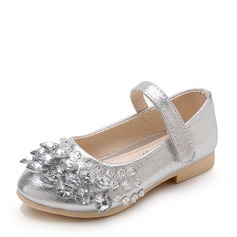 Girl's Leatherette Flat Heel Closed Toe Flats With Rhinestone Velcro