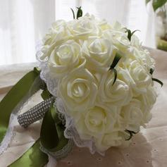 Pretty Round Foam Bridal Bouquets (Sold in a single piece) - Bridal Bouquets