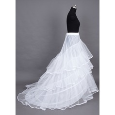 Women Nylon/Tulle Netting Chapel Train 3 Tiers Petticoats (037024157)