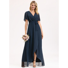 A-line Short Sleeves Asymmetrical Romantic Sexy Dresses (293237662)