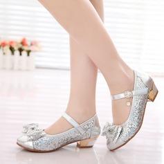 A menina de imitação de couro Heel plana Fechados Sem salto com Bowknot Strass Espumante Glitter Velcro