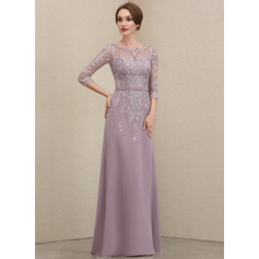 A-Line Scoop Neck Floor-Length Chiffon Lace Evening Dress With Beading Sequins (017221866)