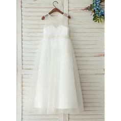 A-Line/Princess Floor-length Flower Girl Dress - Satin Sleeveless Scoop Neck With Beading