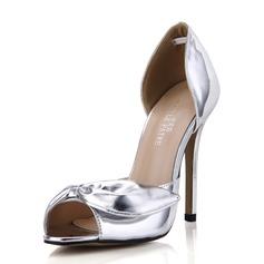 Mulheres Couro Salto agulha Sandálias Peep toe sapatos