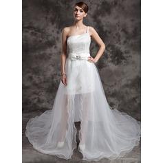 A-Linie/Princess-Linie One-Shoulder-Träger Asymmetrisch Organza Pailletten Brautkleid mit Perlen verziert Schleife(n)