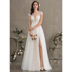 Corte A Escote en V Hasta el suelo Tul Vestido de novia