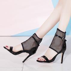 Kvinnor Lackskinn Mesh Stilettklack Sandaler Pumps med Ihåliga ut skor