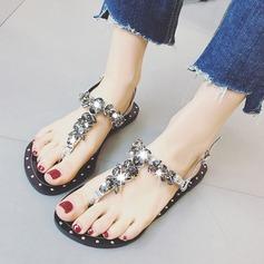 Vrouwen Kunstleer Flat Heel Peep Toe Sandalen Slingbacks Beach Wedding Shoes met Strass