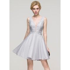 A-Line/Princess V-neck Short/Mini Organza Homecoming Dress (022089913)