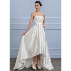 A-Line/Princess Sweetheart Asymmetrical Satin Lace Wedding Dress