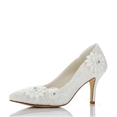Women's Mesh Spool Heel Pumps With Flower