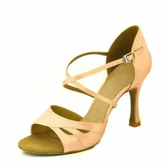 Women's Satin Heels Sandals Latin With Ankle Strap Dance Shoes (053104857)