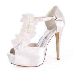 Women's Silk Like Satin Stiletto Heel Platform Pumps Sandals With Satin Flower