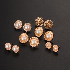Utsökt Legering Fauxen Pärla med Oäkta Pearl Damer' Mode örhängen (Set av 6 par)