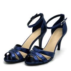 Kvinnor PVC Stilettklack Sandaler Pumps Peep Toe med Spänne skor