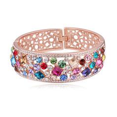 Ladies ' Przepiękny Stop/Rose Pozłacane Z Okrągłe Austriacki kryształ Bransoletki Ją/Znajomi