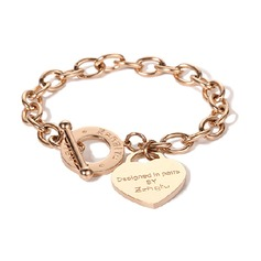 Custom Delicate Chain Charm Bracelets Engraved Bracelets With Heart - Valentines Gifts For Her (106215296)