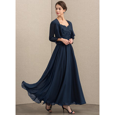 A-Line/Princess V-neck Ankle-Length Chiffon Lace Mother of the Bride Dress With Sequins (008164107)