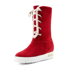 Women's Suede Flat Heel Boots Mid-Calf Boots Snow Boots With Elastic Band shoes