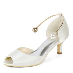 Women's Silk Like Satin Stiletto Heel Peep Toe Pumps With Imitation Pearl