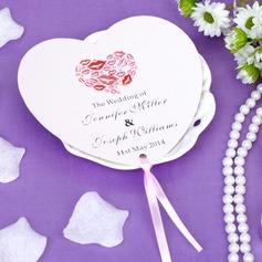 Personalizado En forma de corazón papel Abanicos con Cintas (Juego de 12)