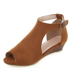 Women's Suede Wedge Heel Sandals Peep Toe With Others shoes