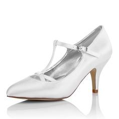 Femmes Satiné Talon stiletto Bout fermé Escarpins Chaussures qu'on peut teindre